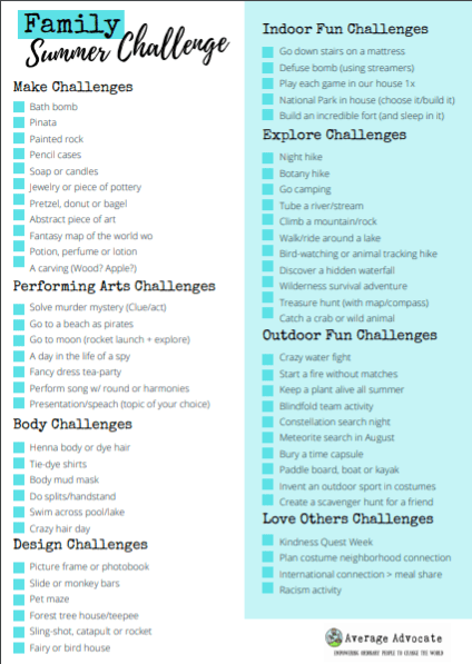 family summer challenge checklist